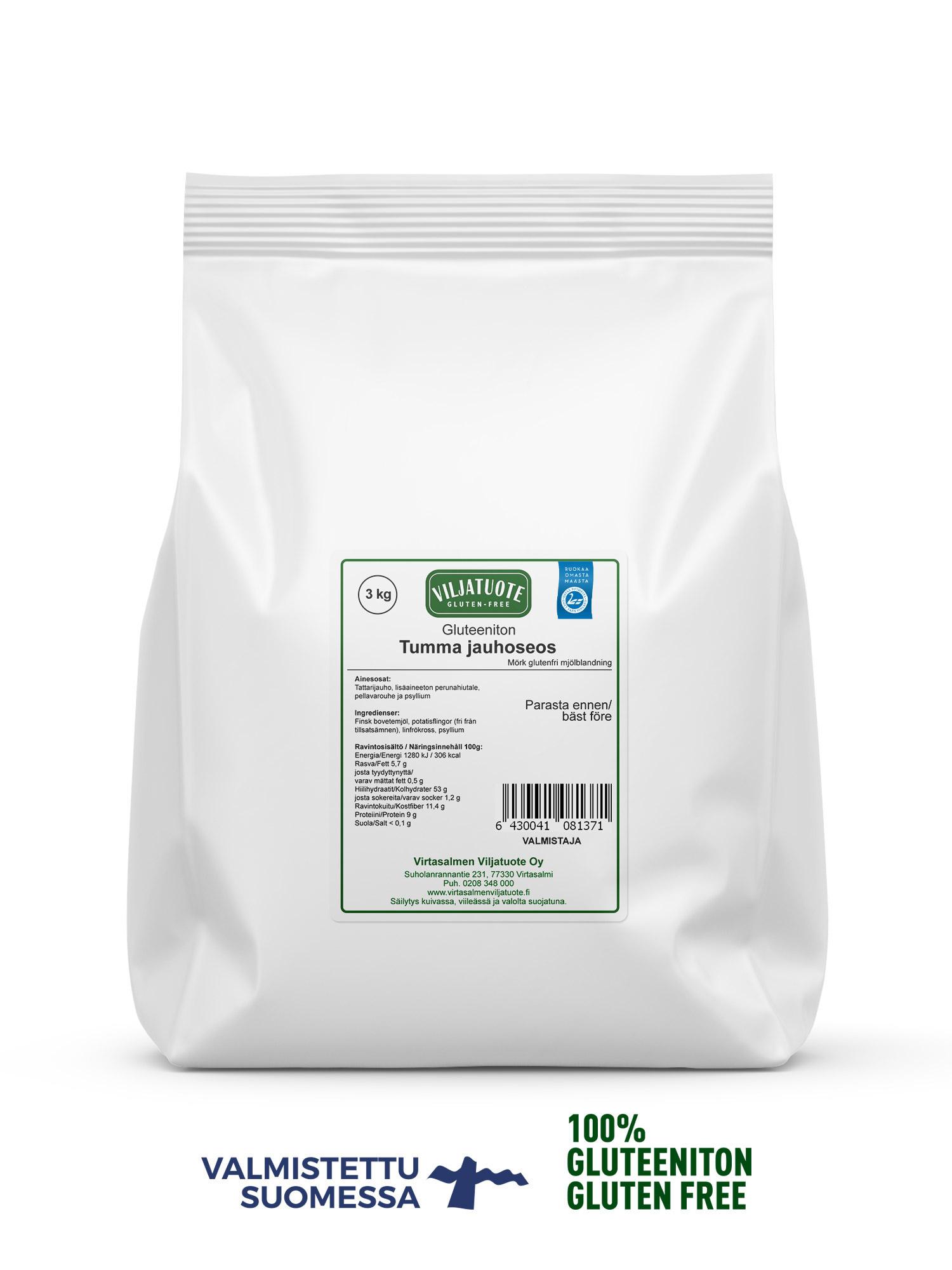 Tumma gluteeniton jauhoseos, 3kg