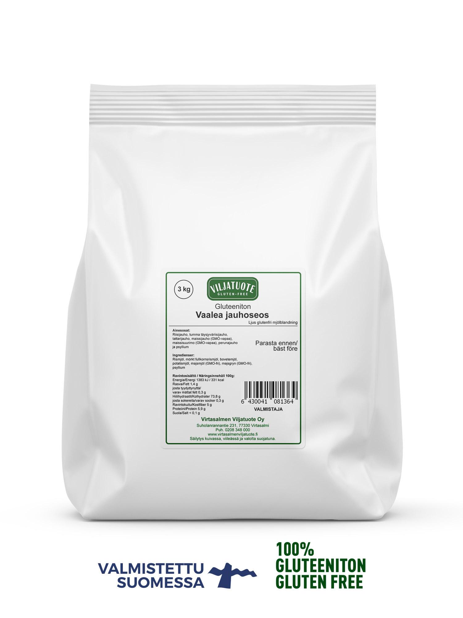 Vaalea gluteeniton jauhoseos, 3kg