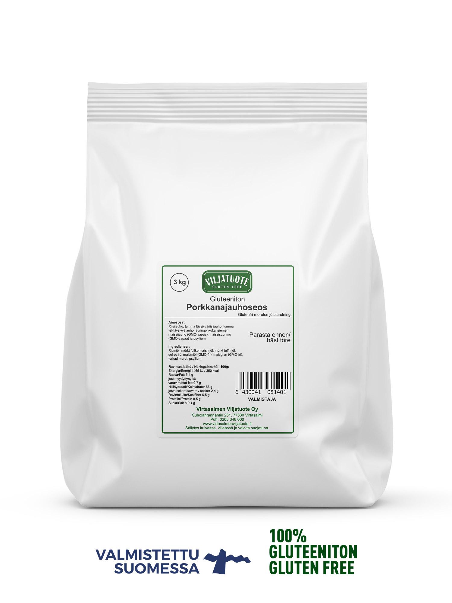 Gluteeniton porkkanajauhoseos, 3 kg